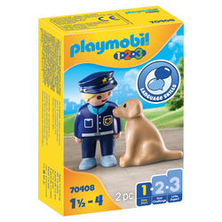 70408 - Playmobil 1.2.3 - Policier avec chien
