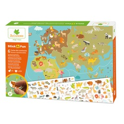 Stick & Fun Cartes des continents et animaux