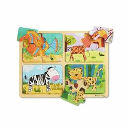 4 puzzles en bois en assortiment