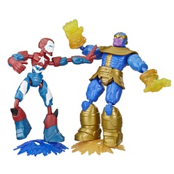 Pack 2 figurines Iron Patriot et Thanos 15 cm Bend and Flex - Marvel