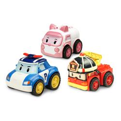 Lot de 3 voitures à friction (Poli, Ambre et Roy)- ROBOCAR POLI - 6cm