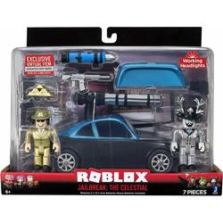 Deux figurines Roblox avec leur voiture Celestial