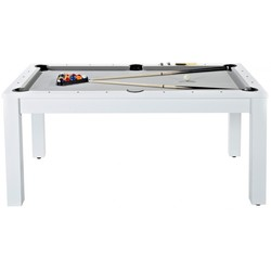 Billard convertible 7FT bois blanc et tapis gris
