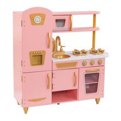 Cuisine vintage en bois rose et or
