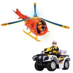 Coffret 2 véhicules Hélicoptère Wallaby et quad de police - Sam le Pompier