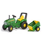 Tracteur à Pédales RollyJ X Trac John Deere Remorque Fram Trailer