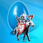 4937-Oeuf cavalier avec armure et cheval