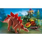 5232-Stegosaure et ses bébés avec forêt