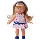 Mini Corolline Blonde Robe à Pois Bleus