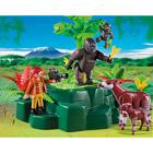 5415-Gorilles et okapis avec végétation
