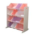 Meuble avec bacs de rangement couleurs pastels