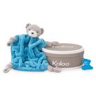 Peluche Coffret doudou plat Néon ours bleu 20 cm