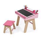 Bureau et chaise rose