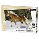 Puzzle 100 pièces cheval trot dans la neige