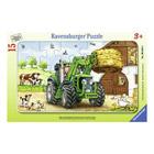 Puzzle cadre 15 pièces tracteur ferme
