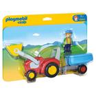 6964-Fermier avec tracteur et remorque