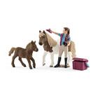 Soigneuse de chevaux avec poneys Shetland