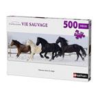 Puzzle 500 pièces chevaux dans la neige