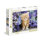 Puzzle 500 pièces chaton avec fleurs