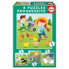 4 puzzles progressifs animaux de la ferme