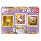3 puzzles de 500 pièces décoratifs