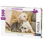 Puzzle 500 pièces chaton avec chiot