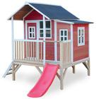 Maison en bois Loft 350 rouge avec terrasse et toboggan
