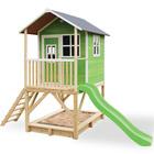 Maison en bois Loft 500 verte avec bac à sable et toboggan