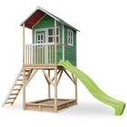 Maison en bois Loft 700 verte avec bac à sable et toboggan