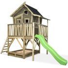 Maison en bois Crooky 550 avec bac à sable et toboggan