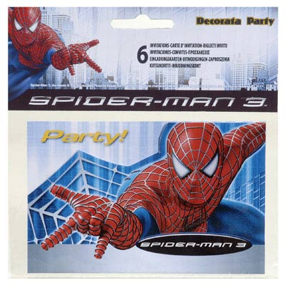 6 cartes d'invitation Spiderman 3
