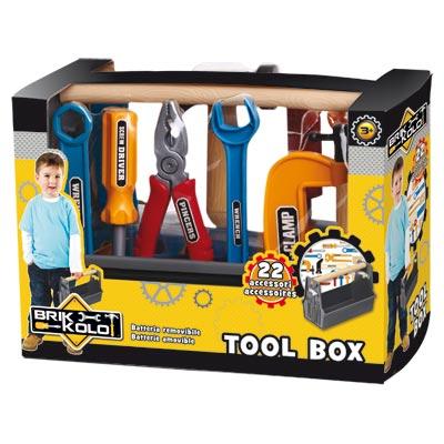 caisse outils 22 pi ces brikkolo king jouet faire comme les grands brikkolo jeux d. Black Bedroom Furniture Sets. Home Design Ideas