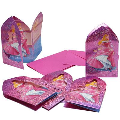 6 cartes d'invitation princesse pour 5€