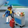 4761-Hôtesse de l'air avec chariot de service