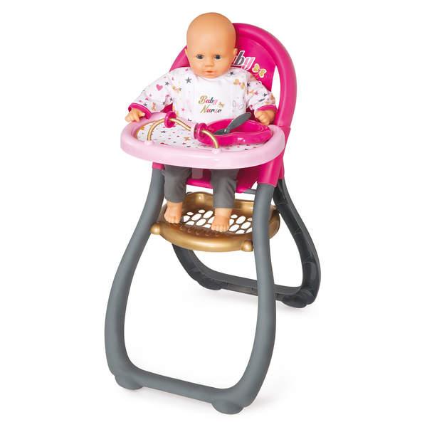 chaise haute poupon baby nurse 2 accessoires sur king achat de jeux et jouets en ligne. Black Bedroom Furniture Sets. Home Design Ideas