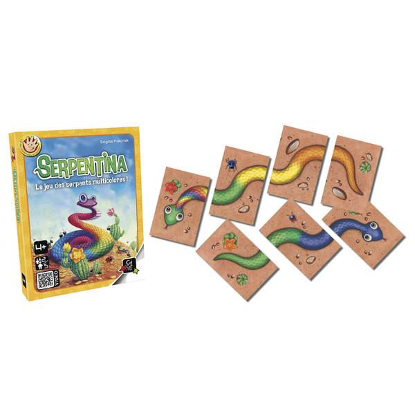 Le jeu Serpentina est un jeu de cartes. Il va permettre à votre enfant de reconnaître les couleurs et d´associer les formes. Les 50 plaques représentent la tête, le corps ou la queue de gentils serpents colorés. Tirez une plaque au hasard et tentez de rec