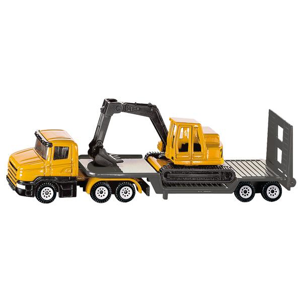 Camion Surbaissé Avec Excavatrice