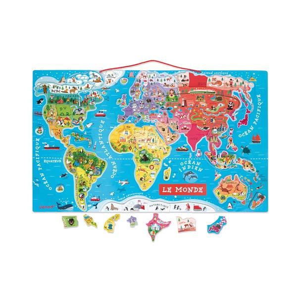 Puzzle Le Monde Magnétique Janod  King Jouet, Découvrir le monde  ~ Le Monde Du Jouet En Bois