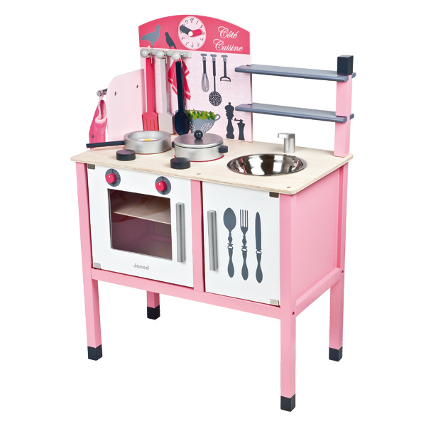 maxi cuisine en bois mademoiselle janod king jouet cuisine et dinette janod jeux d. Black Bedroom Furniture Sets. Home Design Ideas