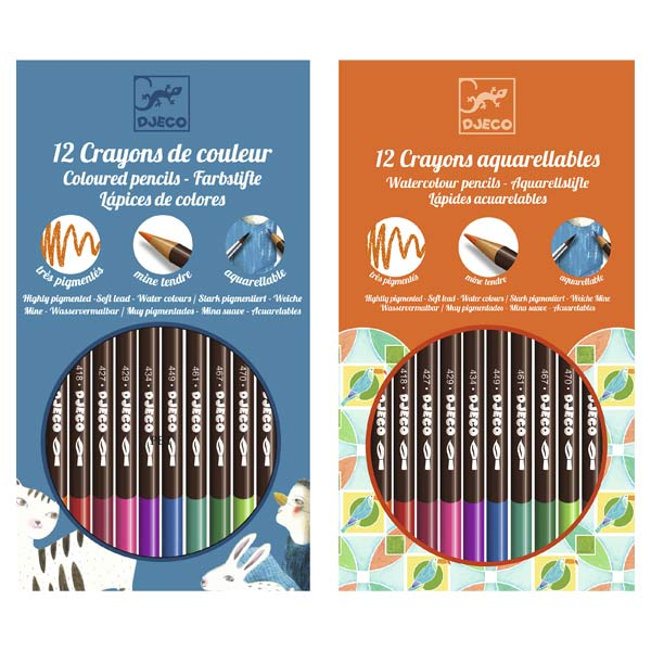 12 crayons aquarellables