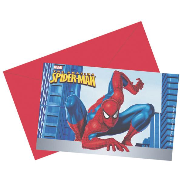 6 cartes d'invitation spiderman pour 5€