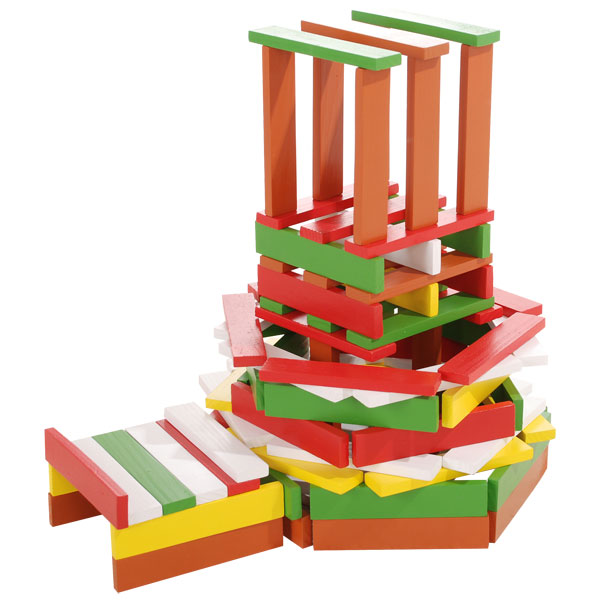 100 planchettes de bois multicolores wood n play king jouet lego planchettes autres wood n for Construction bois kapla