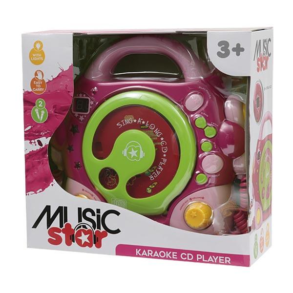 lecteur cd 2 micros rose music star king jouet audio. Black Bedroom Furniture Sets. Home Design Ideas