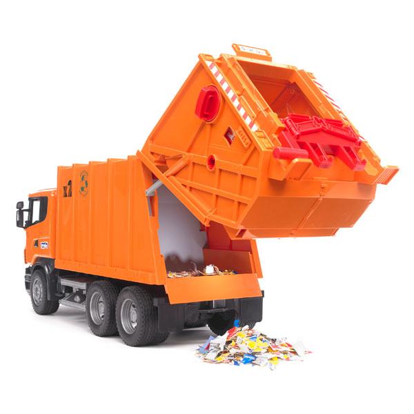 camion poubelle orange bruder king jouet v hicules de. Black Bedroom Furniture Sets. Home Design Ideas