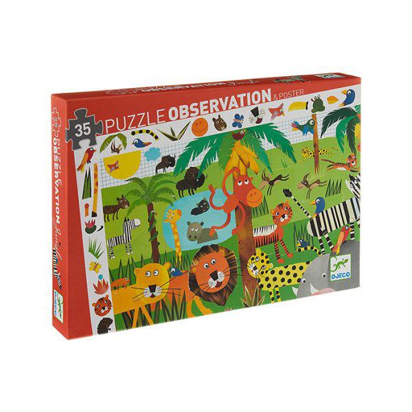 Puzzle observation 35 pièces jungle