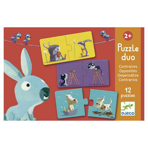 12 puzzles 2 pièces contraires