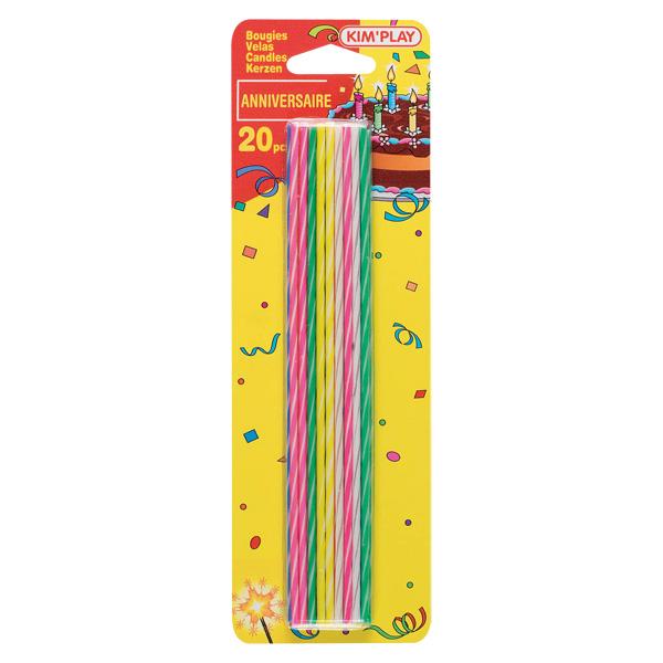 20 bougies ficelle-multicolore pour 2€