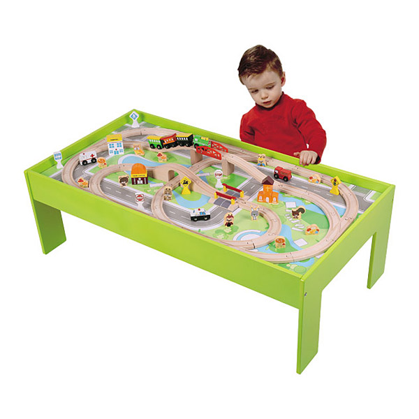 Table et Circuit Train Bois WOOD N PLAY  King Jouet, Garages et  ~ Table Et Circuit Train Bois