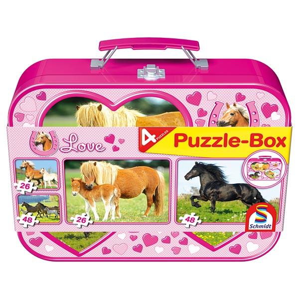 Valisette métallique 4 puzzles chevaux pour 23€