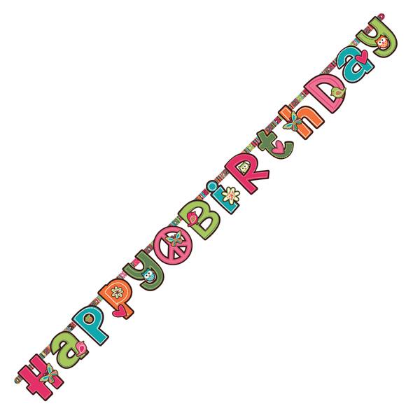 Bannière hippie chick happy birthday pour 5€